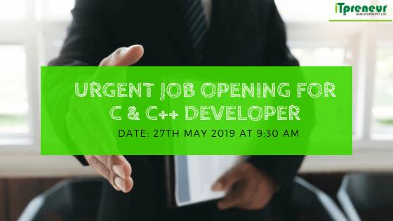 Job Opening for c & c++ developer